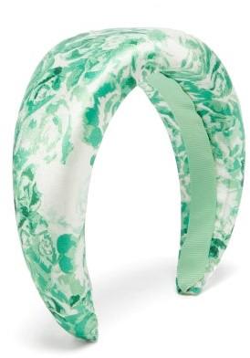 Ganni Floral-print Satin Headband - Womens - Green Print