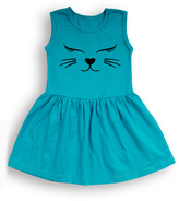 Turquoise Cat Face Sleeveless Dress - Toddler