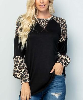 Celeste Women's Tunics BLACK/LEOP - Black Leopard Print Puff-Sleeve Raglan Tunic - Women & Plus