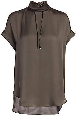 Brunello Cucinelli Women's Monili Trimmed Silk Drawstring Mockneck Blouse
