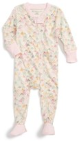 Infant Girl's Burt'S Bees Baby Dotted Mountain Fitted One-Piece Footed Pajamas
