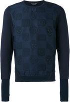 Alexander McQueen skull and badge embroidered sweatshirt - men - Cotton - S