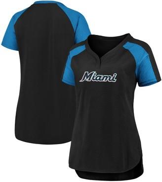 Women's Fanatics Branded Black/Blue Miami Marlins Iconic League Diva Raglan V-Neck T-Shirt