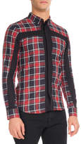 Givenchy Plaid Shirt with Contrast Cross, Red