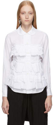 Comme des Garcons White Layered Ruffle Shirt