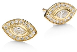 Zoë Chicco Diamond Eye 14K Yellow Gold Stud Earrings