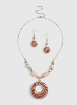 Dorothy Perkins Pink and Murano Necklace Earrings Set