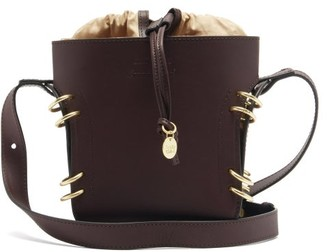 See by Chloe Alvy Ring-embellished Leather Bucket Bag - Burgundy