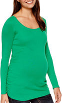 Asstd National Brand Maternity Long-Sleeve Ruched-Side Scoopneck T-Shirt - Plus
