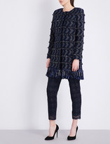 St. John Tara fringed tweed coat
