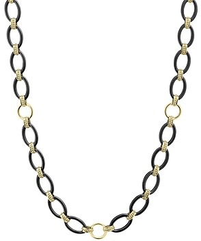 Lagos 18K Yellow Gold Gold & Black Caviar Black Ceramic Long Station Necklace, 36
