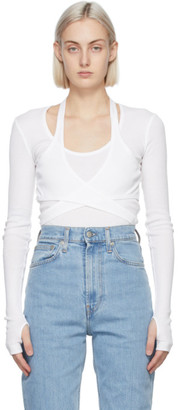 Helmut Lang White Wrap Long Sleeve T-Shirt