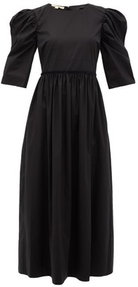 Brock Collection Puffed-sleeve Cotton-blend Midi Dress - Womens - Black