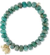 Sydney Evan Jewelry Amazonite Bead Bracelet w/ 14K Gold Diamond Elephant Charm