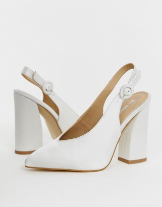 Be Mine Bridal Noori ivory satin sling back heeled shoes-White