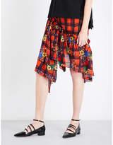 Preen Line Chloe floral check-print crepe skirt