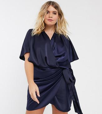 Asos DESIGN Curve wrap kimono mini dress with tie waist-Navy