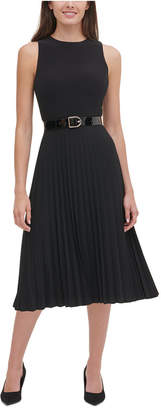 Tommy Hilfiger Petite Belted Jersey Pleated Dress