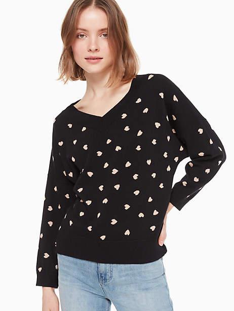 Kate Spade Heartbeat Sweater, Black - Size M