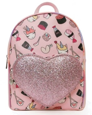 Omg Accessories Unicorn Sushi Print Mini Backpack with Heart Pocket