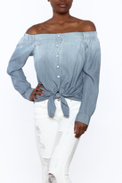 Fifteen-Twenty Fifteen Twenty Blue Off-Shoulder Top