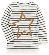 Osh Kosh Girl's Striped Long Sleeve Shirt with Lace Trim