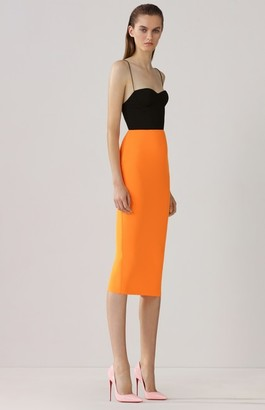 Alex Perry Lee-Crepe Two-Tone Midi Dress