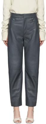 Totême Grey Leather Novara Trousers