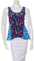 Tanya Taylor Silk Pleated Printed Top