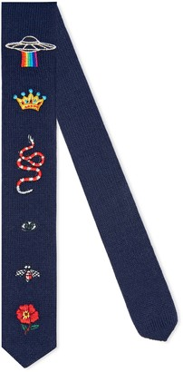 Gucci Children's embroidered wool knit tie