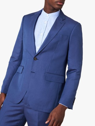 Jaeger Silk Linen Regular Fit Suit Jacket, Blue