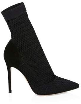 Gianvito Rossi Stretch Mesh& Suede Sock Booties