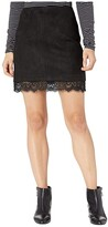 BB Dakota Too Little Too Lace Faux Suede Mini Skirt with Lace Trim (Black) Women's Skirt