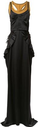Vera Wang Ruffled Long Silk Dress