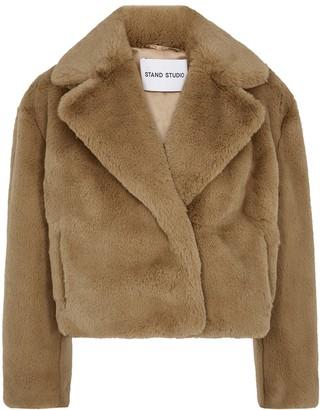 Stand Studio Janet Camel Cropped Faux Fur Jacket