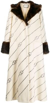 Gucci Fur Collar Monogrammed Coat