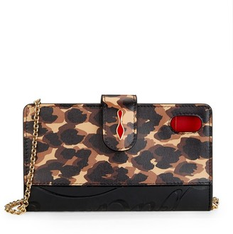 Christian Louboutin Loubiflap Leopard-Print Leather Phone Case