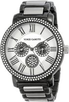 Vince Camuto Women's VC/5001BKTT Swarovski Crystal Accented Black Ion-Plated -Tone Multi-Function Bracelet Watch
