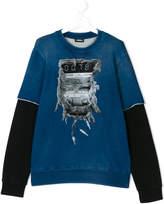 Diesel denim effect sweatshirt