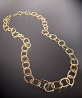 gold textured oval chain link long necklace