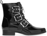 Alexander McQueen Studded Glossed-leather Ankle Boots - Black