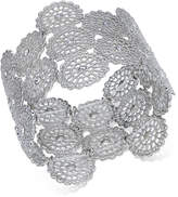 INC International Concepts Silver-Tone Crystal Filigree Disc Stretch Bracelet, Created for Macy's