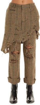 R 13 Layered Over Skirt Houndstooth Trousers