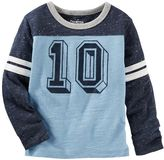 Osh Kosh Boys 4-8 Long Sleeve Number Graphic Speckled Colorblock Tee