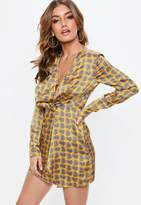 Missguided Yellow Paisley Print Shift Dress