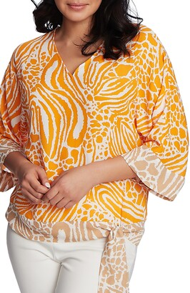 Chaus Jungle Print Side Tie Top