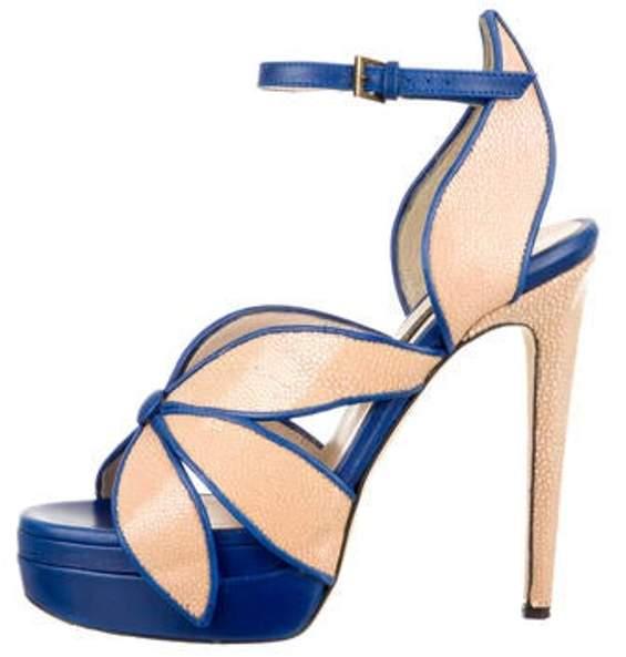 Chrissie Morris Stingray Platform Sandals Tan Stingray Platform Sandals