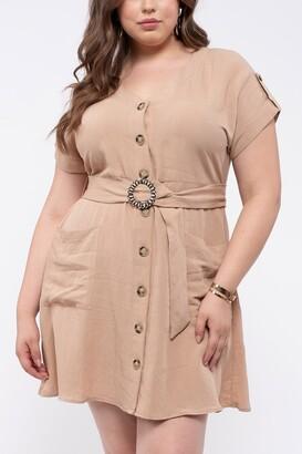 Blu Pepper Button Down Waist Belt Dress