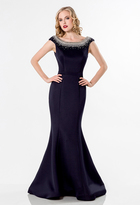 Terani Couture Dazzling Beaded Bateau Neck Polyester Fit and Flare Gown 1522E0528