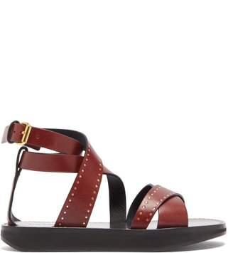 Isabel Marant Nasha Studded Leather Sandals - Womens - Burgundy
